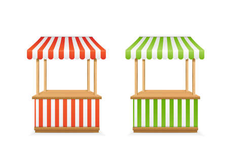 Realistic Detailed 3d Empty Striped Market Stall Set. Vector