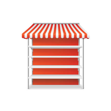 Realistic Detailed 3d Striped Shop Stall Template. Vector