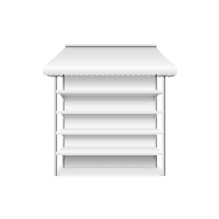 Realistic Detailed 3d White Blank Shop Stall Template Mockup. Vector  イラスト・ベクター素材