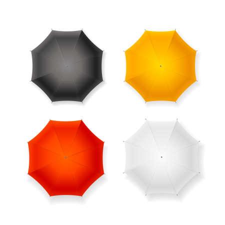 Realistic Detailed 3d Sun Umbrella Set. Vector