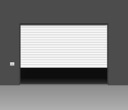 Realistic Detailed 3d White Shutter Door or Rolling Door. Vector