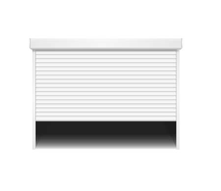 Realistic Detailed 3d Shutter Door or Rolling Door on a White. Vector  イラスト・ベクター素材