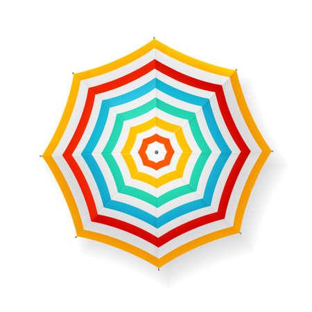 Realistic Detailed 3d Striped Sun Umbrella. Vector