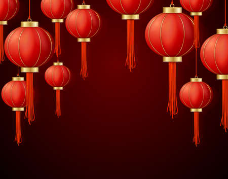 Realistic Detailed 3d Chinese Red Paper Lantern Background Card. Vector  イラスト・ベクター素材
