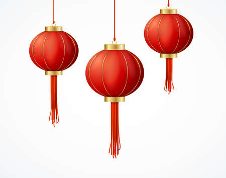 Realistic Detailed 3d Chinese Red Paper Lantern Set. Vector  イラスト・ベクター素材