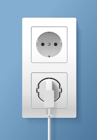 Realistic Detailed 3d Plug inserted in Electrical Outlet Set. Vector