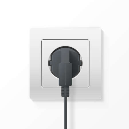 Realistic Detailed 3d Plug inserted in Electrical Outlet. Vector