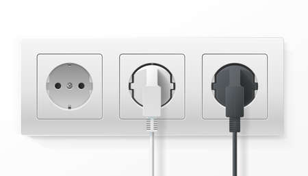 Realistic Detailed 3d Plugs inserted in Electrical Outlet Set. Vector