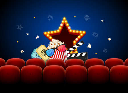 Realistic Detailed 3d Red Cinema Chair Concept Background Card. Vector