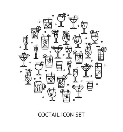 Alcohol Cocktail Round Design Template Black Thin Line Icon Banner. Vector
