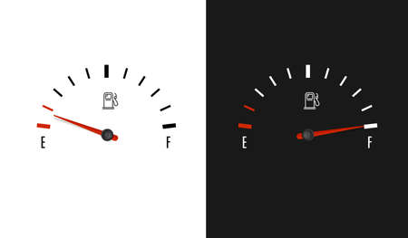 Fuel Counter Dashboard Car with Pointer Set. Vector