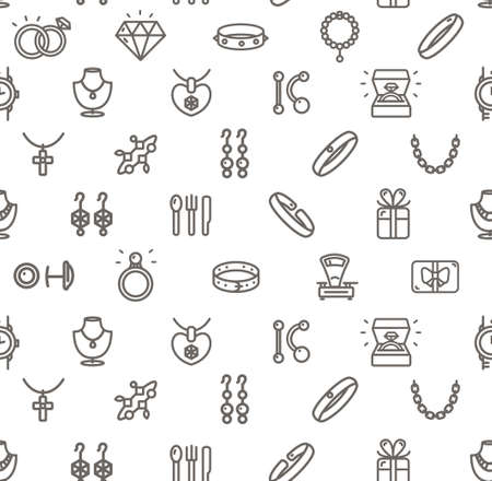 Jewelry Sign Seamless Pattern Background on a White. Vector
