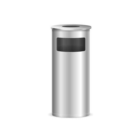 Realistic Detailed 3d Metal Trash Bin. Vector