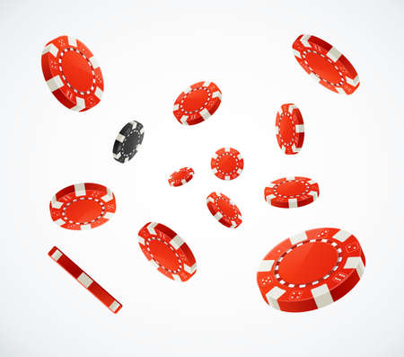 Realistic 3d Detailed Red Poker Chips Flying. Vector