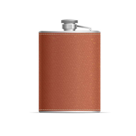 Realistic Detailed 3d Metal Hip Flask Wrapped in Leather. Vector  イラスト・ベクター素材