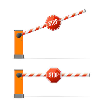 Realistic Detailed 3d Barrier Gate Set. Vector Ilustracja