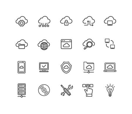 Cloud Computing Sign Thin Line Icon Set. Vector