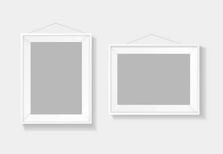 Realistic Detailed 3d Picture Frame White Template Set. Vector