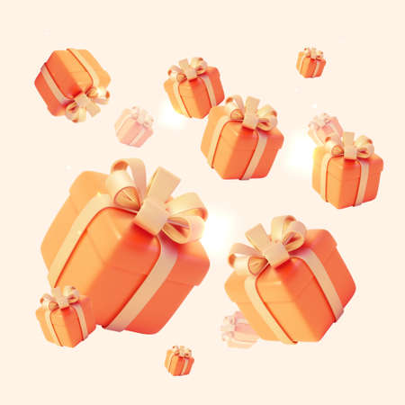 Realistic Detailed 3d Gift Boxes Seamless Pattern Background. Vector