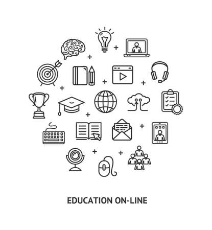Education Online Sign Round Design Template Thin Line Icon Banner. Vector