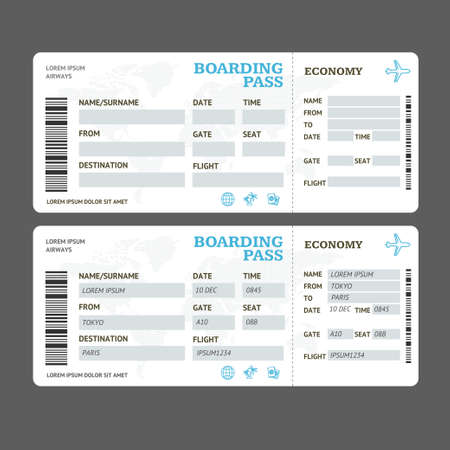 Realistic Detailed 3d Air Tickets Template Set. Vector