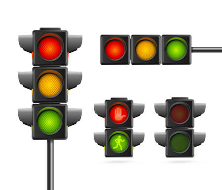 Realistic Detailed 3d Road Traffic Light Set. Vector