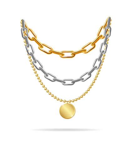 Realistic Detailed 3d Gold and Silver Chain Set. Vector Ilustracje wektorowe
