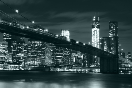 Brooklyn bridge at night photo