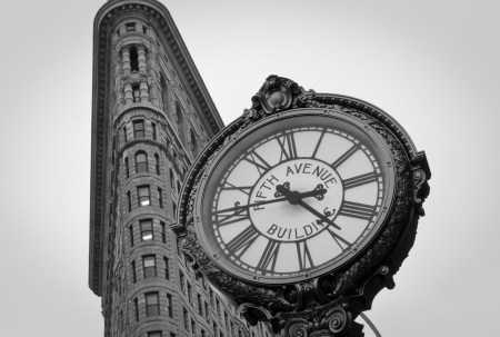 broadway tower: Flatiron building in black and white Editorial