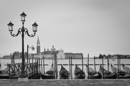 Docked Gondolas in Venice