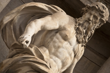 Closeup on neptune at trevi fountain