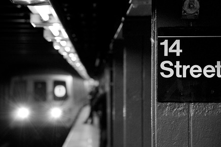 Subway arriving at 14 street photo