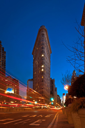 Flatiron Building at night with light trails photo
