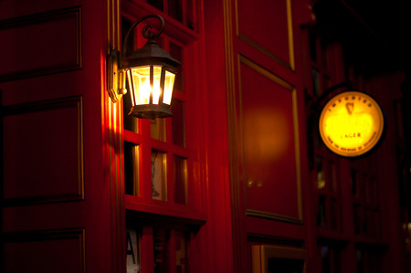 The entrance in a Pub at night