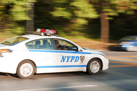 NYPD car engaged in a high speed chase