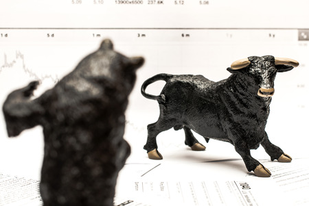 market trends: Bull Vs Bear stock market concept Stock Photo