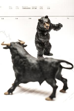 toro: Bull Vs Oso concepto de mercado de valores Foto de archivo