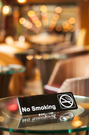 prohibitive: Non smoking sign on a table in a cafe