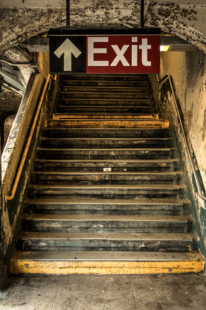 Exit of a decayed subway station in New York