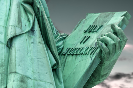 evoking: The tablet held in her left hand by the Lady Liberty that measures  23 7 tall and 13 7 wide inscribed with the date JULY IV MDCCLXXVI (July 4, 1776) which is the date United States of America declared independence from Great Britain.