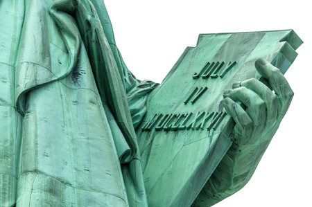 evoking: The tablet held in her left hand by the Lady Liberty that measures  23 7 tall and 13 7 wide inscribed with the date JULY IV MDCCLXXVI (July 4, 1776) which is the date United States of America declared independence from Great Britain isolated on an whi