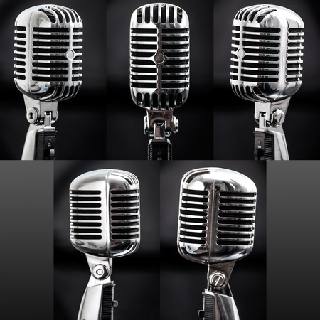 high angles: High resolution collage of retro styled chrome microphones from five different angles