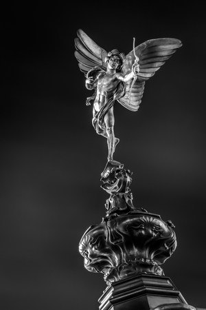 shaftesbury: Black and white image of Shaftesbury Memorial Fountain,the monument falsely believed to depict the greek god Eros but in fact the statue represents Anteros the god of requited love, In Piccadilly Circus , London, United Kingdom of Great Britain