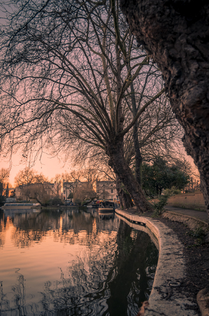 atmospheric: Atmospheric shot at sunset of Little Venice in Regents Canal, London Stock Photo