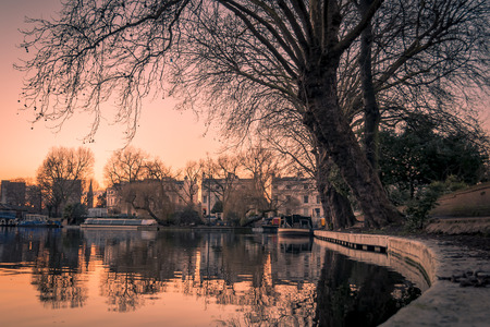 venice canal: Atmospheric shot at sunset of Little Venice in Regents Canal, London Stock Photo