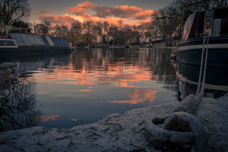 little venice: Atmospheric shot at sunset of Little Venice in Regents Canal, London Stock Photo