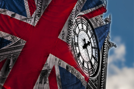 nicknamed: Double exposure image of the Big Ben and the British flag nicknamed The Union Jack, in London, England Stock Photo