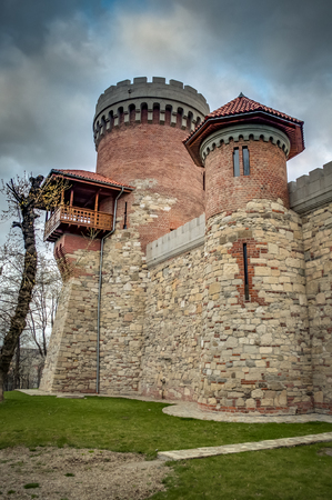 "nightmarish: Atmospheric image of the castle of Vlad Tepes (named "" Vlad The Impaler "") in Carol Park, Bucharest, Romania on a cloudy day. The monument is not a major landmark of Bucharest, however is an accurate replica of the famous Poenari Castle"