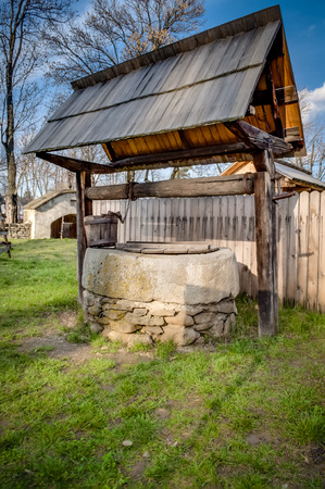 Traditional water well used in rural Romania since the medieval times to draw water from the ground