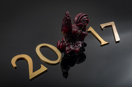 Happy new year 2017 year of rooster text letters with copy space. 2017 in the chinese lunar calendar is the year of the rooster sometimes called year of the cock Reklamní fotografie